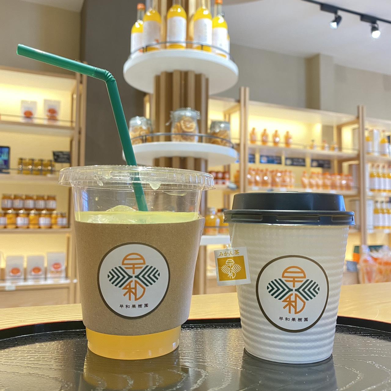 テイクアウトのカフェメニュー 果樹園のみかん茶 (左)アイス150円 (右)ホット100円