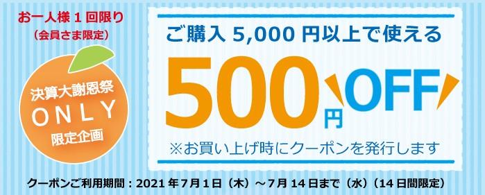 夏のギフトに使える500円クーポン進呈!
